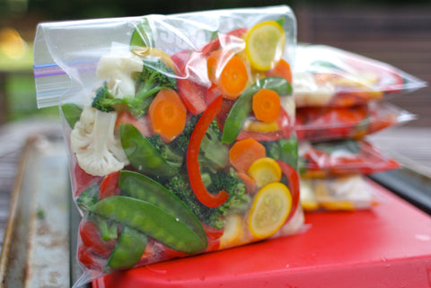 Portioned fruit & veg in freezer bags