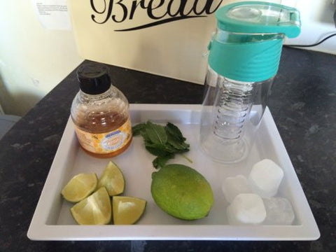 Kid friendly fruit infusing recipe with Lime, Ginger and Honey