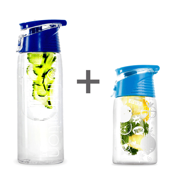 The Infruition Sport in Royal Blue & Infruition Kids in Electric Blue bundle of fruit infused water bottles