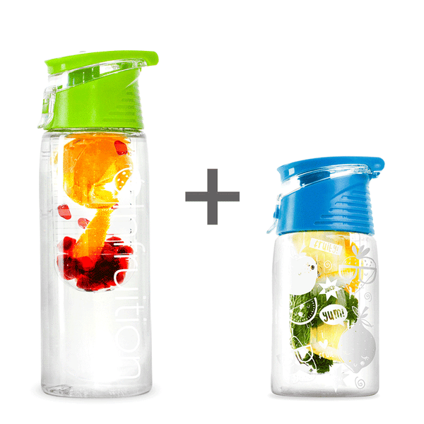 The Infruition Sport in Lime Green & Infruition Kids in Electric Blue bundle of fruit infused water bottles