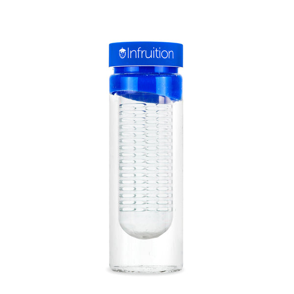Empty glass fruit infusing water bottle in royal blue with no fruits