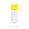 Empty glass fruit infusing water bottle in sunshine yellow with no fruits