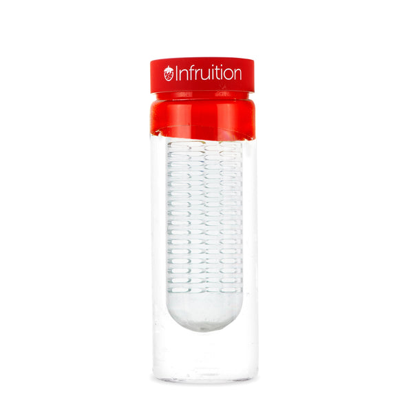 Empty glass fruit infusing water bottle in fire red with no fruits