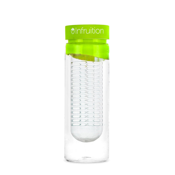 Empty glass fruit infusing water bottle in lime green with no fruits