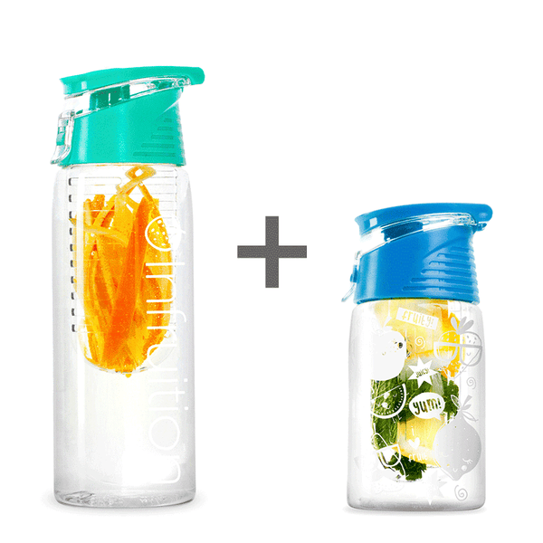The Infruition Sport in Mint & Infruition Kids in Electric Blue bundle of fruit infused water bottles