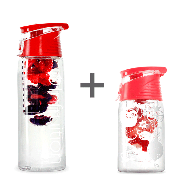 The Infruition Sport in Red & Infruition Kids in Coral Pink bundle of fruit infused water bottles