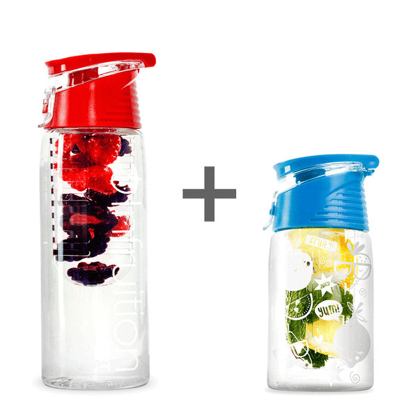 The Infruition Sport in Red & Infruition Kids in Electric Blue bundle of fruit infused water bottles