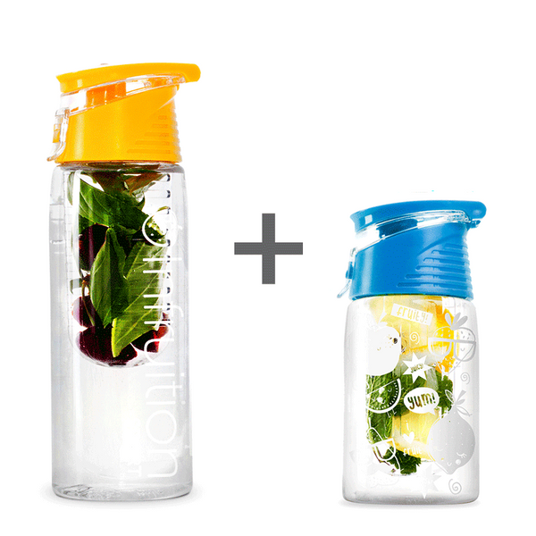The Infruition Sport in Sunshine Yellow & Infruition Kids in Electric Blue bundle of fruit infused water bottles