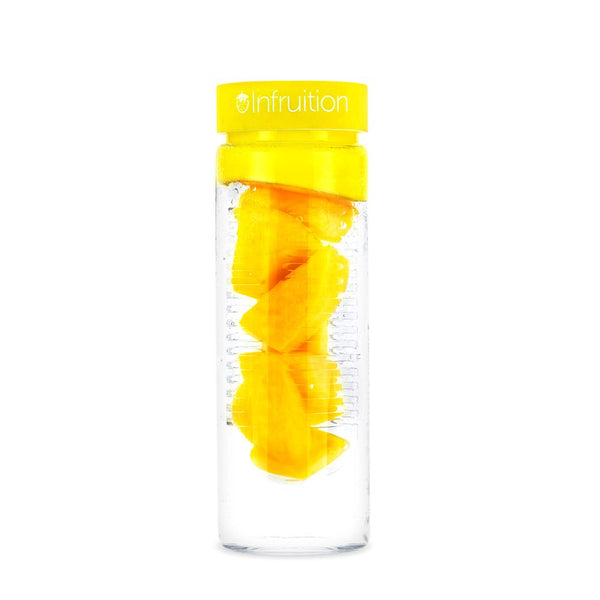 Glass fruit infusing water bottle in sunshine yellow show with a mango recipe