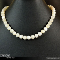 WHITE MOONSTONE NECKLACE - Round Real Moonstone Beads