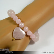 ROSE QUARTZ BRACELET - Natural Pink Heart Pendant and Polished Genuine Beads
