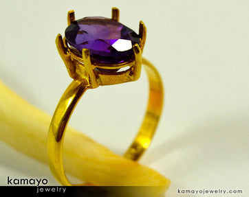 Gold Amethyst Ring - 10X8Mm-Large Purple Amethyst Ring For Women - 18K Gold