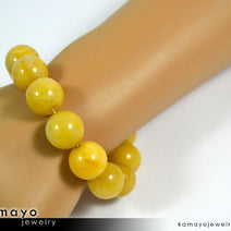 Yellow Jade Bracelet - Big Round Beads