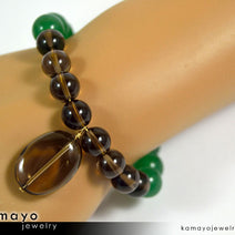 LIBRA BRACELET - Smoky Quartz Pendant and Green Aventurine Beads