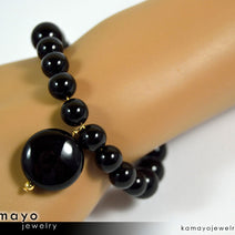 BLACK ONYX BRACELET - Coin Pendant and Round Beads