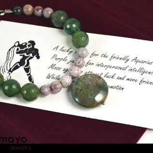 AQUARIUS BRACELET - Green Moss Agate Pendant and Mookaite Jasper Beads