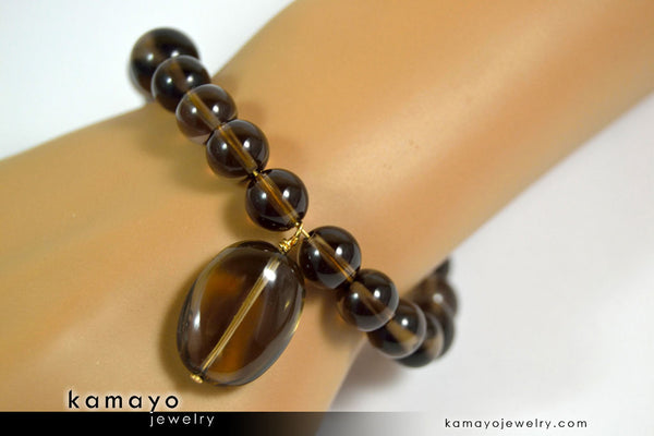 Smoky Quartz Bracelet - Smooth Oval Pendant And Round Beads