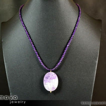 LAVENDER AMETHYST NECKLACE - Large Faceted Oval Pendant and Round Beads