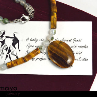 GEMINI NECKLACE - Tiger Eye Pendant and Botswana Agate Beads