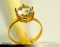Gold Clear Quartz Ring - 10X8Mm Rock Crystal Ring For Women - 18K Gold