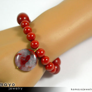 RED JASPER BRACELET - Coin Pendant and Round Beads