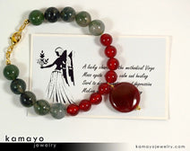 Virgo Bracelet - Sard Pendant And Moss Agate Beads