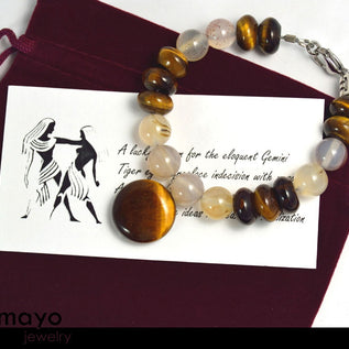 GEMINI BRACELET - Tiger Eye Pendant and Grey Agate Beads