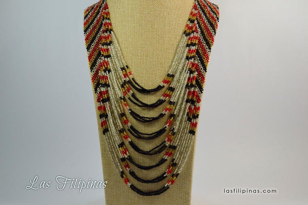 Tribal Statement Necklace - Ethnic Tboli Beaded Jewelry