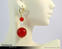 "SARDONYX EARRINGS <span class=""subtitle"">- Beaded Dangle Ear Rings for Women </span><span class=""subtitle"">- Large Red Ball Pendant and White Beads </span><span class=""findings"">- 14K Gold Filled Leverback </span>"