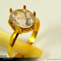 Gold ROSE QUARTZ Ring - 10x8mm-large Rose Quartz Ring for Women