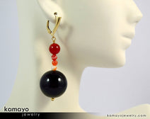 "LEO EARRINGS <span class=""subtitle"">- Large Black Onyx Ball and Small Sardonyx Beads </span><span class=""subtitle"">- Beaded Dangle Ear Rings for Women </span><span class=""findings"">- 14K Gold Filled Leverback </span>"
