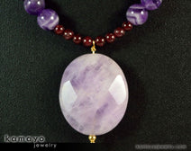 "AQUARIUS NECKLACE <span class=""subtitle"">- Amethyst Pendant and Red Garnet Beads </span><span class=""findings"">- 14K Gold Filled Findings </span><span class=""length"">- 18 Inches</span>"