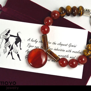GEMINI BRACELET - Red Agate Pendant and Tiger Eye Beads