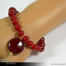Sard (Carnelian) Bracelet - Coin Pendant And Round Beads