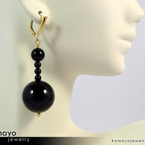 BLACK ONYX EARRINGS - Beaded Dangle Ear Rings for Women