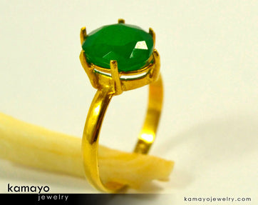 Gold Aventurine Ring - 10X8Mm Green Aventurine Ring For Women - 18K Gold