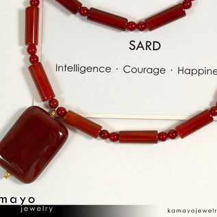 SARD (CARNELIAN) NECKLACE - Rectangle Pendant and Column Beads