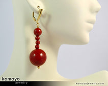 "RED JASPER EARRINGS <span class=""subtitle"">- Beaded Dangle Ear Rings for Women </span><span class=""subtitle"">- Large Ball Pendant </span><span class=""findings"">- 14K Gold Filled Leverback </span>"