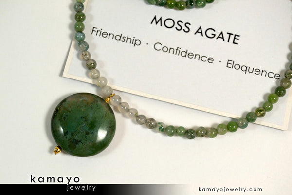 Green Moss Agate Necklace - Coin Pendant And Round Beads
