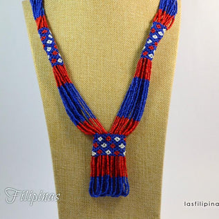Tribal Statement Necklace - Blue Ethnic Mandaya Beaded Jewelry