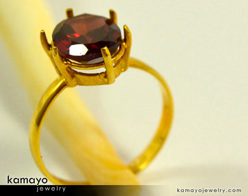 Gold Garnet Ring - 10X8Mm Red Garnet Ring For Women - 18K Gold