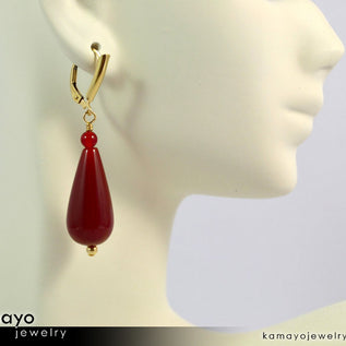SARD EARRINGS - Large Drop Ear Rings for Women