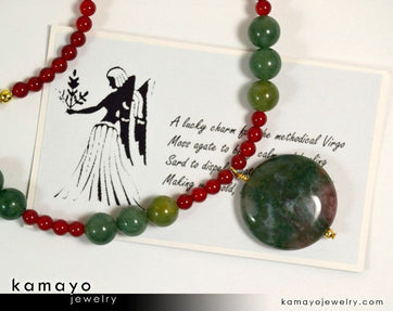 Virgo Necklace - Moss Agate Pendant And Sard Beads