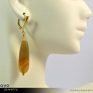 YELLOW AGATE EARRINGS - Long Drop Ear Rings for Women