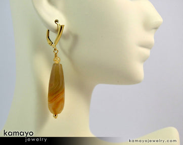 Agate Earrings - Long Drop Ear Rings For Women