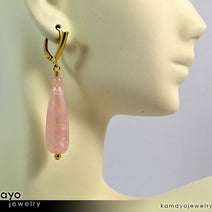 ROSE QUARTZ EARRINGS - Long Drop Ear Rings for Women