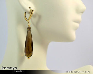 "SMOKY QUARTZ EARRINGS <span class=""subtitle"">- Long Drop Ear Rings for Women </span><span class=""subtitle"">- Brown Teardrop Pendant </span><span class=""findings"">- 14K Gold Filled Leverback </span>"