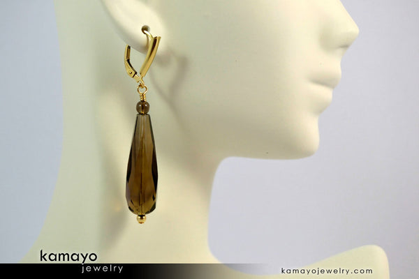 Smoky Quartz Earrings - Long Drop Ear Rings For Women