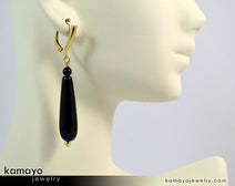 Black Onyx Earrings - Long Drop Ear Rings For Women