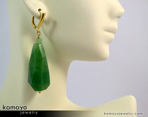 "GREEN AVENTURINE EARRINGS <span class=""subtitle"">- Large Drop Ear Rings for Women </span><span class=""subtitle"">- Faceted Teardrop Pendant </span><span class=""findings"">- 14K Gold Filled Leverback </span>"